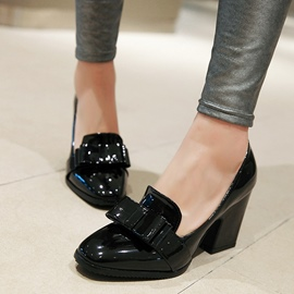 Ericdress Chic Patent Leather Bowtie Block Heel Pumps