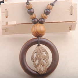 Ericdress Circle of Leaf Pendant Long Necklace