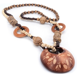 Ericdress Round Wood Butterfly Carving Beading Necklace