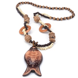 Ericdress Hand Carving Wooden Fish Pendant Necklace