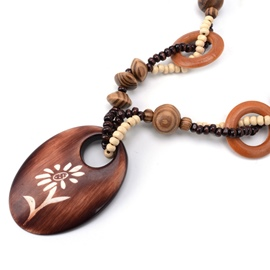 Ericdress Flowers Carved Oval Wooden Pendant Long Necklace