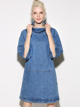Ericdress Denim Turtleneck Shoulder sleeve Loose Casual Dress