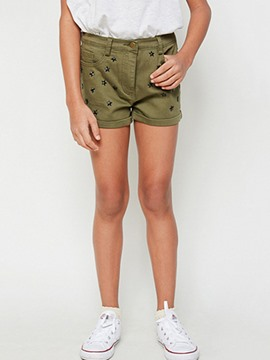 Ericdress Rivet Mid-Waist Zipper Shorts