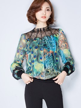 Ericdress Printed Lace Patchwork Blouse