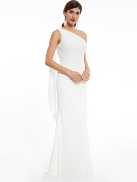 Ericdress One Shoulder Pleats Chiffon Long Evening Dress