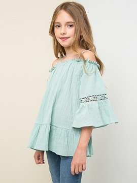 Ericdress Ruffles Backless Off-the-Shoulder Girls Shirt