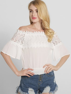 Ericdress Slash Neck Lace Blouse