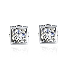 Ericdress Square Zircon Inlaid 925 Silver Earrings