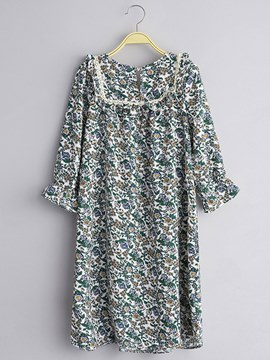 Ericdress Floral Pirnt Half Sleeve Cotton Girls Dress