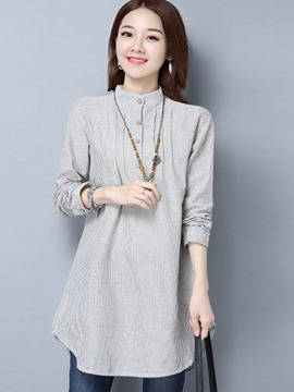 Ericdress Single-Breasted Stripped Slim Blouse