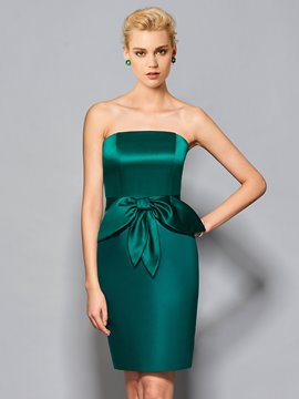 Ericdress Sheath Short Strapless Bowknot Front Cocktail Dress