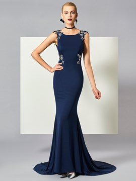 Ericdress Beaded Backless Long Mermaid Evening Dress