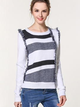 Ericdress Stripped Color Block Casual Knitwear