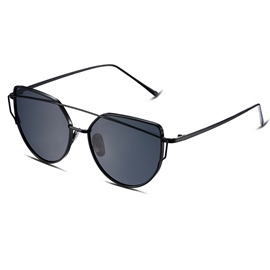 Ericdress Black Full Frame Round Polarized Women's Sunglasses