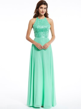 Ericdress A Line Halter Long Evening Dress With Beadings