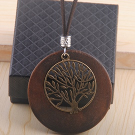 Ericdress Wooden Circle with Life Tree Design Long Necklace