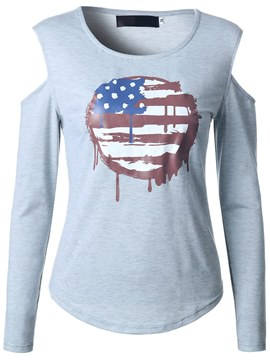 Ericdress American Flag Graphic Pattern Cold Shoulder T-Shirt