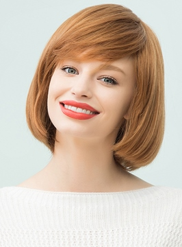 Ericdress Medium Straight Human Hair With Bangs Bob Style Capless Cap Wigs 12 Inches
