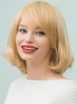 Ericdress Bob Medium Straight Human Hair With Bangs Capless Cap Wigs 12 Inches