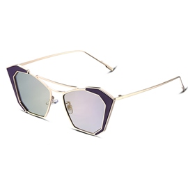 Ericdress HD Purple Lens Gold Frame Design Women's Sunglasses