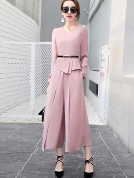 Ericdress Plain Asymmetric Chiffon Pleated Wide Legs Leisure Suit