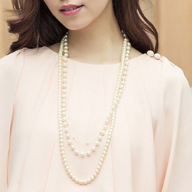 Ericdress Three Layers Artificial Pearls Long Necklace