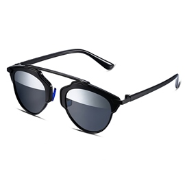Ericdress Black Frame Half Silver Lens Polarized Women's Sunglasses