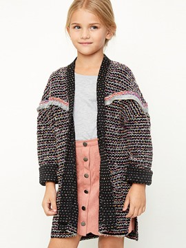 Ericdress Spring Color Block Cardigan Mid-Length Girls Sweater