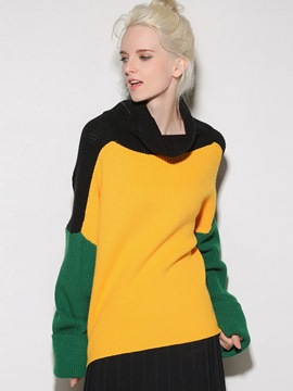 Ericdress Colorblock Loose Turtleneck Knitwear