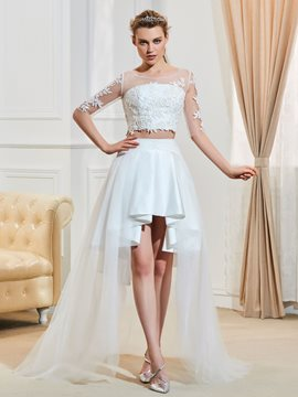 Ericdress Scoop Half Sleeves Asymmetry Two Pieces Beach Wedding Dress
