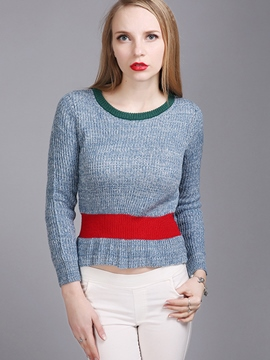 Ericdress Color Block Slim Casual Knitwear