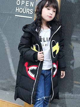 Ericdress Appliques Hoodie Zipper Girls Coat