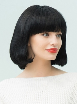 Ericdress Black Natural Medium Straight Bob With Bangs Hairstyle Human Hair Blend Capless Wigs 12 Inches