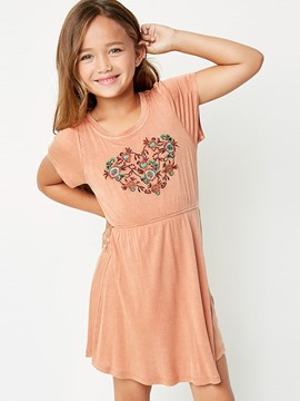 Ericdress Embroidery Short Sleeve Casual Girls Dress