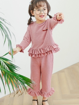 Ericdress Spring Plain Falbala Girls Outfit
