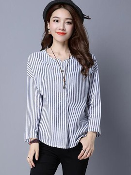 Ericdress Stripped Round Neck Casual Blouse