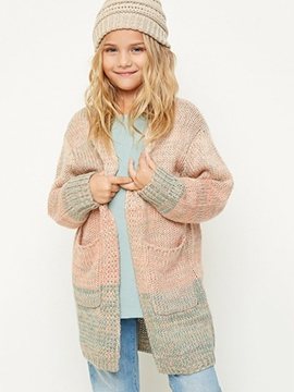 Ericdress Color Block Wrapped V-Neck Cardigan Girls Sweater