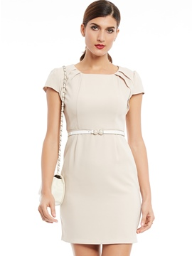 Ericdress Pleated Scoop Short Sleeve Bodycon Dress