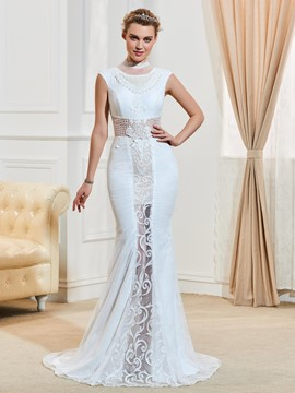 Ericdress Sexy High Neck Mermaid Lace Wedding Dress