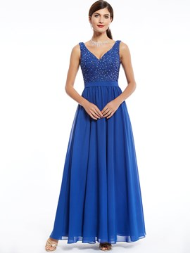 Ericdress A Line V Neck Beaded Chiffon Long Evening Dress