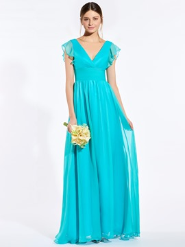 Ericdress V Neck Cap Sleeves Long Bridesmaid Dress