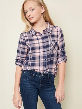 Ericdress Plaid Patchwork Pocket Lapel Girls Shirt
