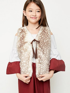 Ericdress Lace-Up V-Neck Sleeveless Girls Outerwear