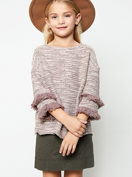 Ericdress Back Vent Stripe Mid-Length Girls Sweater
