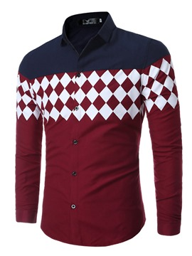 Ericdress Color Block Diamond Pattern Casual Men's Shirt