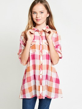 Ericdress Plaid Single-Breasted Lapel Girls Shirt