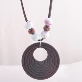 Ericdress Ceramics Beads Design Wooden Circle Pendant Necklace