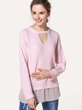 Ericdress Solid Color Loose Patchwork Knitwear