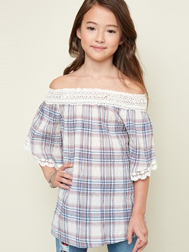 Ericdress Plaid Lace Slash Neck Half Sleeves Girls Shirt