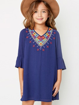 Ericdress Flare Sleeve Embroidery Casual Girls Dress